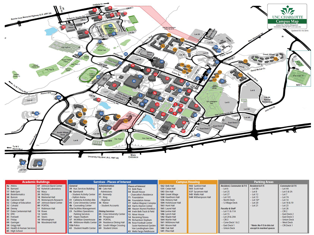 Maps Facilities Management UNC Charlotte - U of a campus map