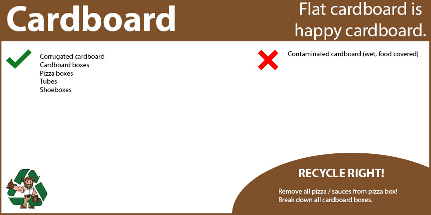 Cardboard recycling includes corrugated cardboard, cardboard boxes, pizza boxes, tubes and shoeboxes.