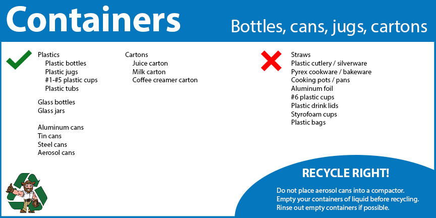 Container recycling includes plastic bottles, jugs and tubs, along with number 1 through 5 plastic cups, glass bottles and jars, aluminum cans, steel cans, aerosol cans, juice cartons, milk cartons and coffee creamer cartons.