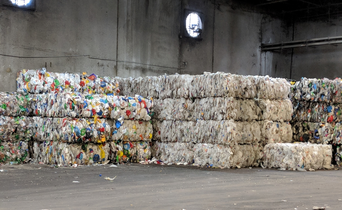 Bales of recyclable material