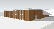 Rendering of new brick facade on Denny