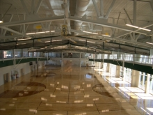 Interior basketball courts of URec