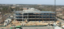Daytime overview of the Science Building construction