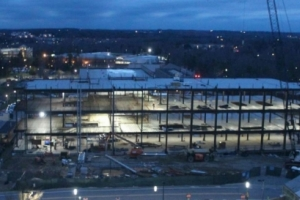 Nighttime view of the Science Building construction