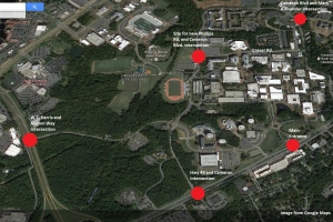 Campus Map showing where traffic improvement construction sites will be located.